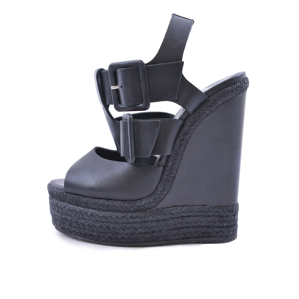Black Leather Wedges-Washed And Found