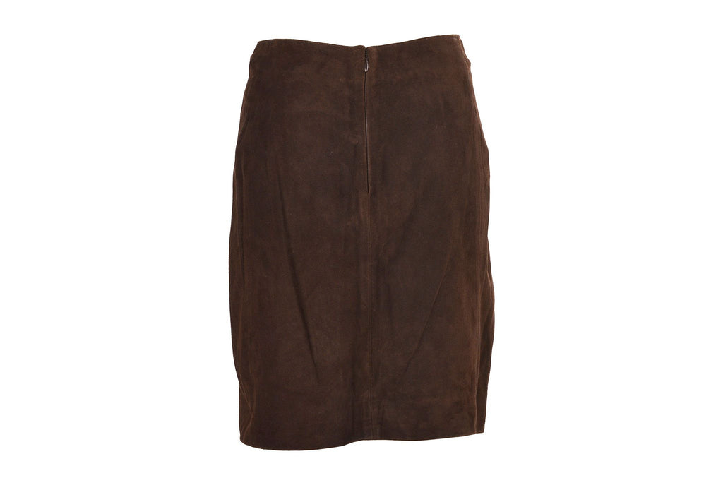 Brown suede chained skirt-Washed And Found