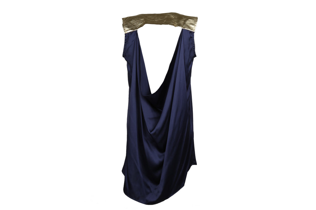 Navy silk Grecian cocktail dress-Washed And Found