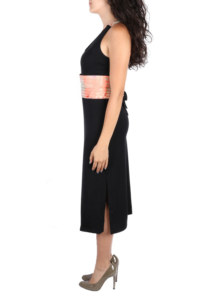Black Straight maxi dress-Washed And Found