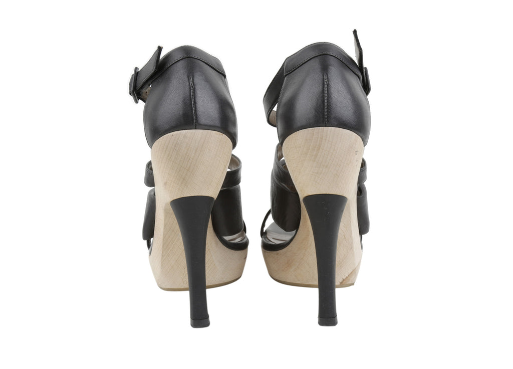 Wooden platform leather strappy sandals-Washed And Found