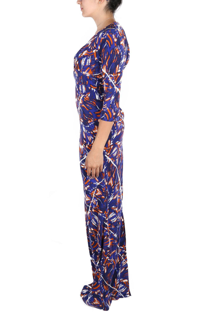 Blue and orange printed maxi dress-Washed And Found