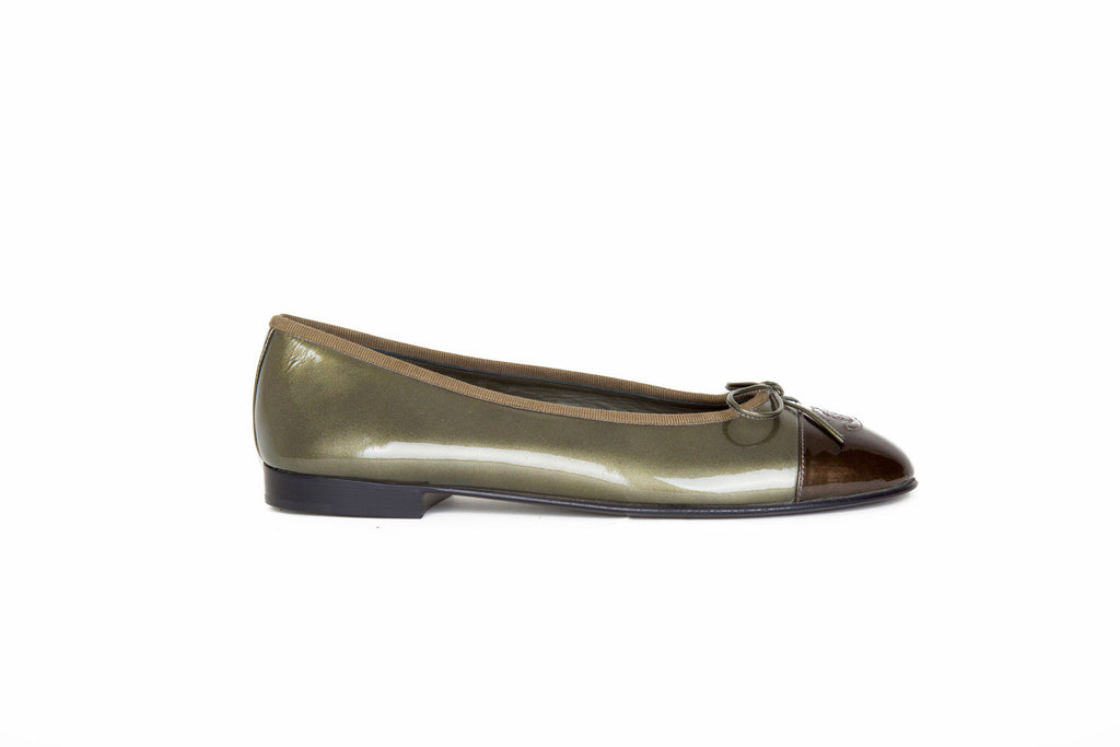 Olive patent ballet flats-Washed And Found