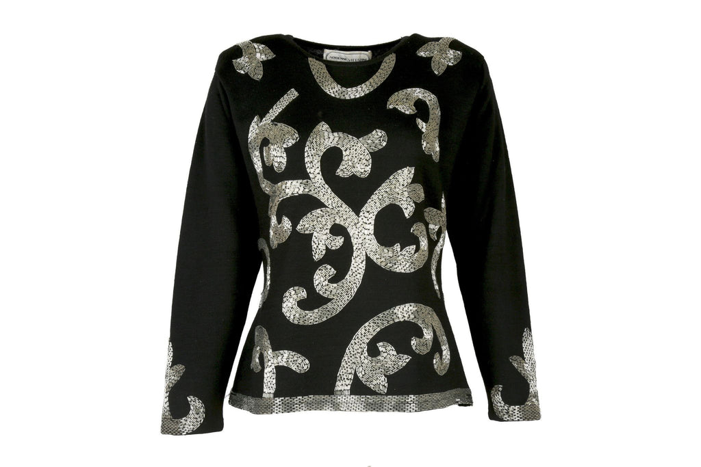 Black Beaded Sweater-Washed And Found