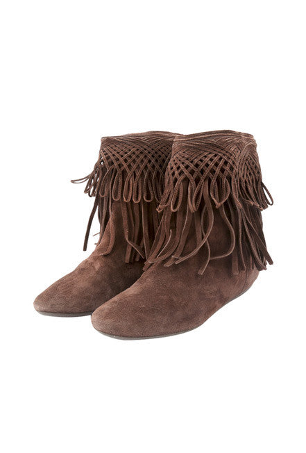 Brown Fringe Boots-Washed And Found