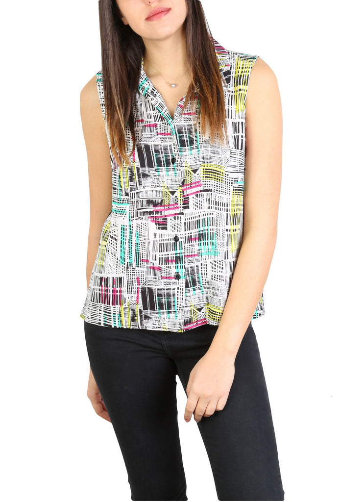 Print Botton-up Top-Washed And Found