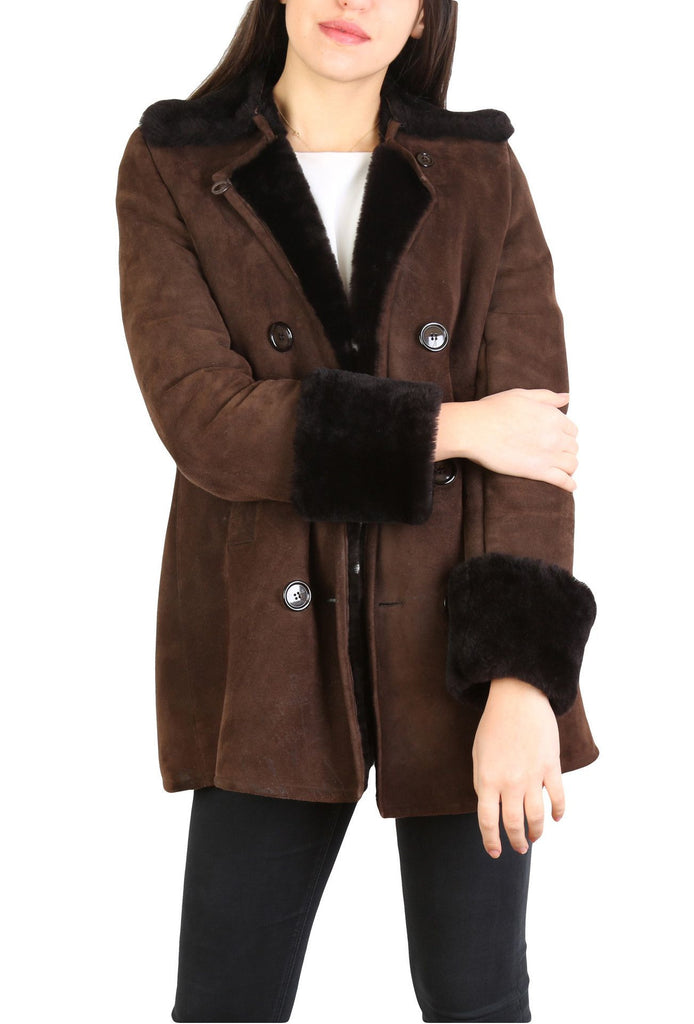 Midlength Suede Peacoat-Washed And Found