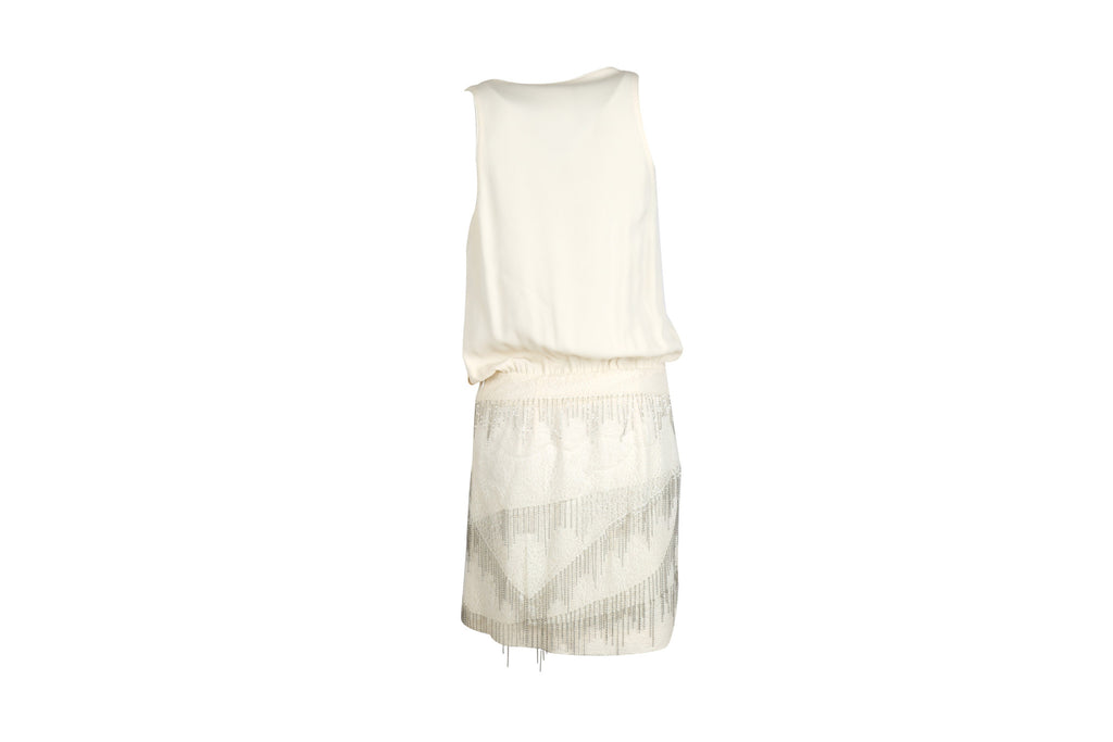 White Embellished Dress-Washed And Found