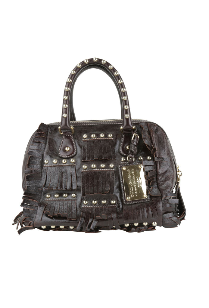 Brown leather fringed hand bag-Washed And Found