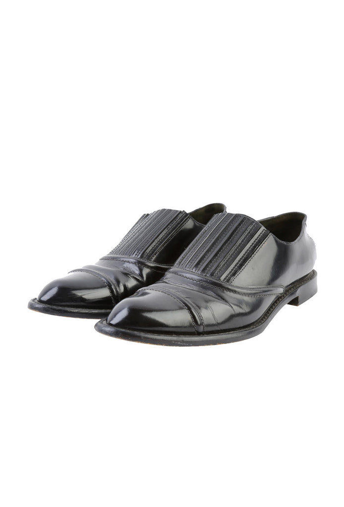 Black Leather Loafers-Washed And Found