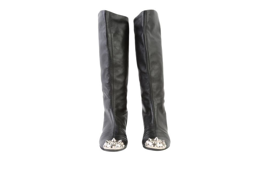 Leather Knee-High Boots-Washed And Found