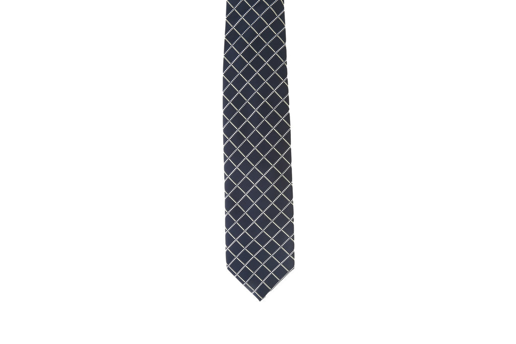 Dotted square print silk tie-Washed And Found