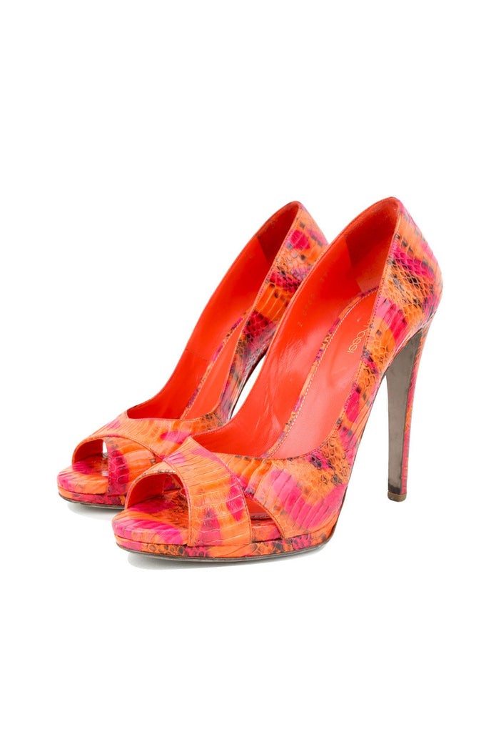 Python Peep Toe Pumps-Washed And Found