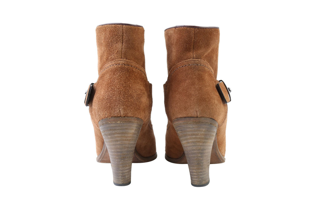 Camel Ankle Boots-Washed And Found