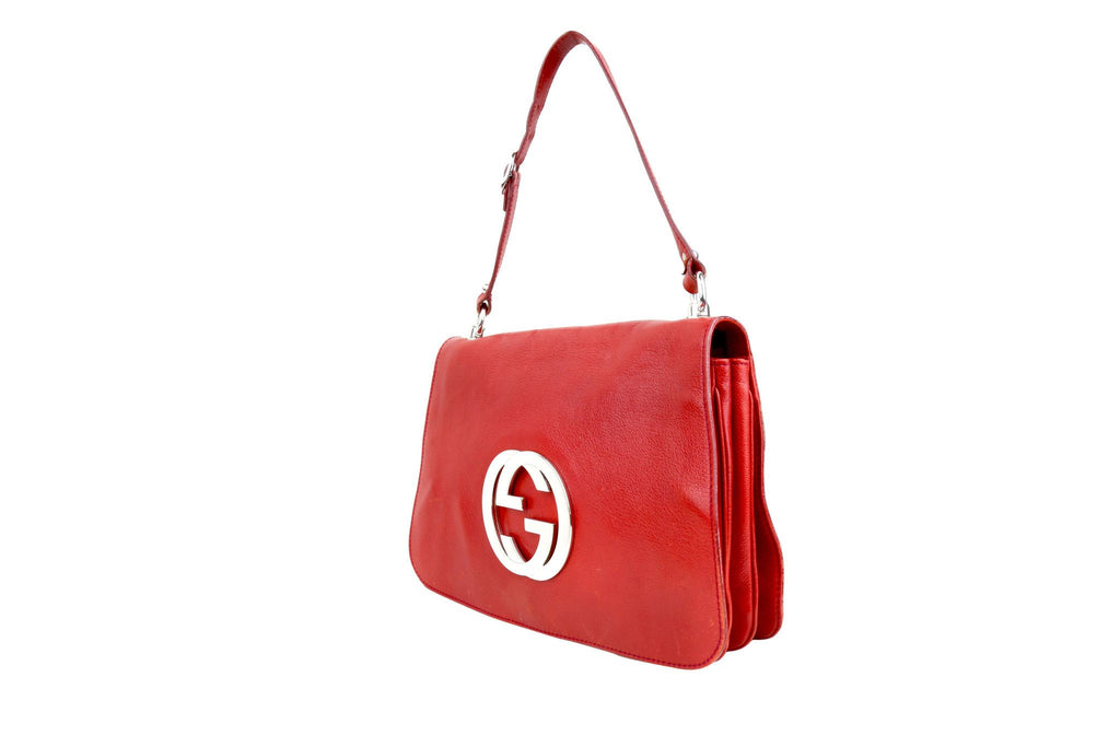 Red Leather Flap Bag-Washed And Found