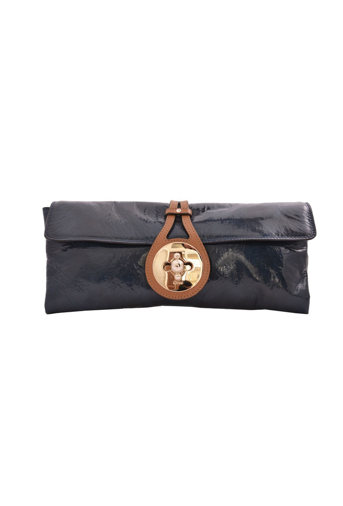 Petrol blue patent clutch-Washed And Found