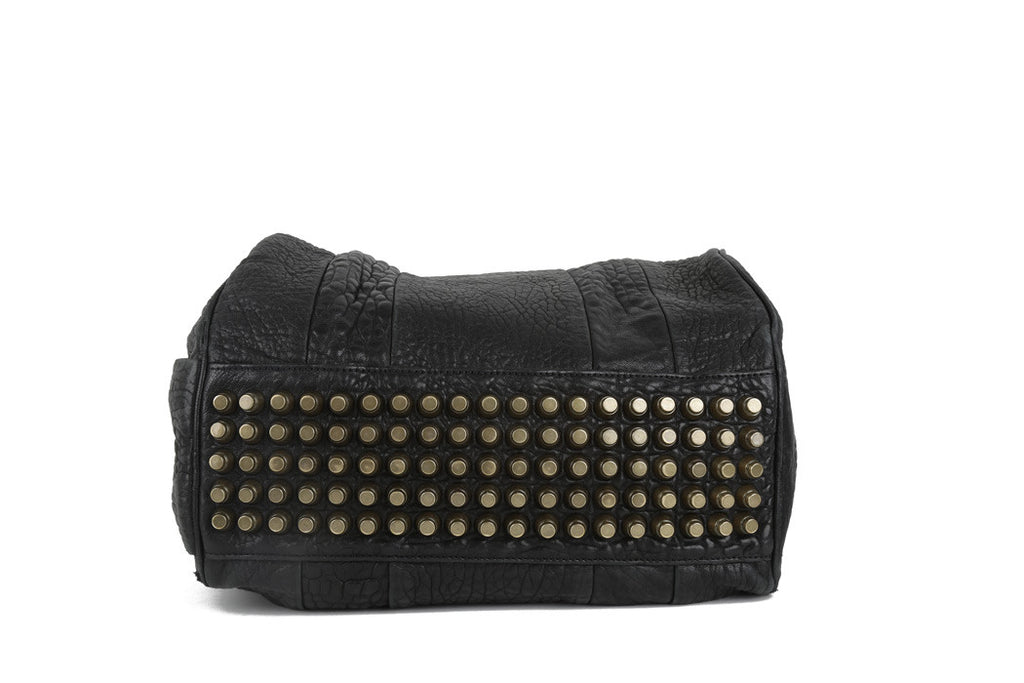 Black leather studded bag-Washed And Found