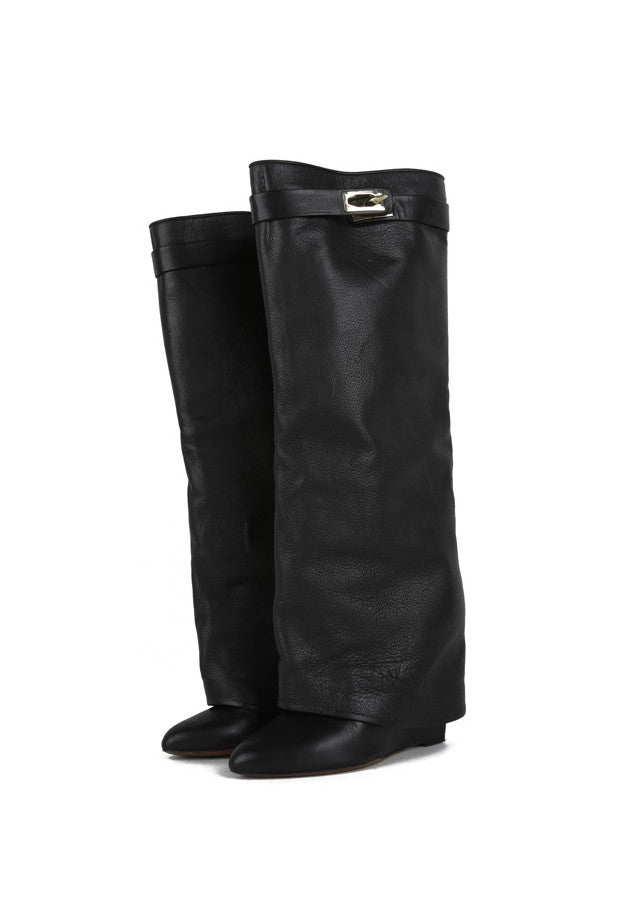 Tall pant leg leather boots-Washed And Found