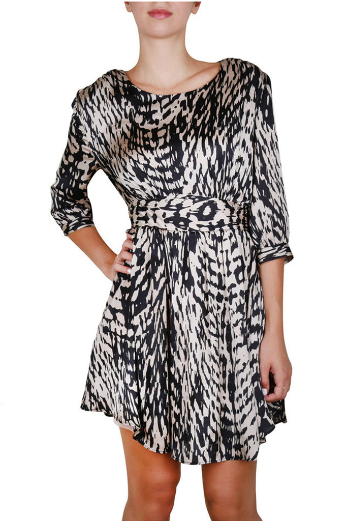 Zebra print studded cocktail dress-Washed And Found