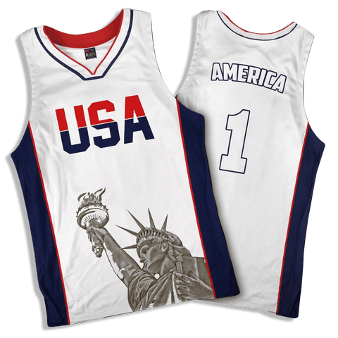 Limited Edition White America #1 Basketball Jersey