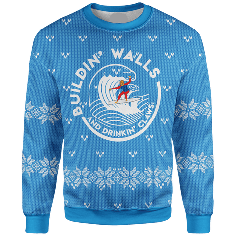 Building Walls and Drinking Claws Christmas Sweater