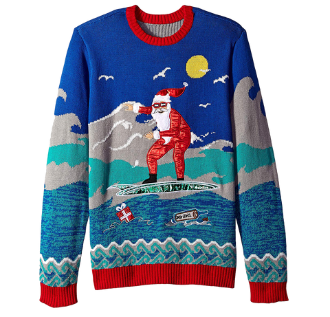Surfing Santa Ugly Christmas Sweater