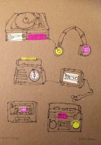 Design 2 (with pink/yellow headphones) / With UK postage included                     Design 2 (with pink/yellow headphones) / With international shipping