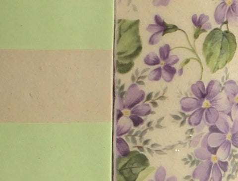 Green Stripes With Mauve Flowers