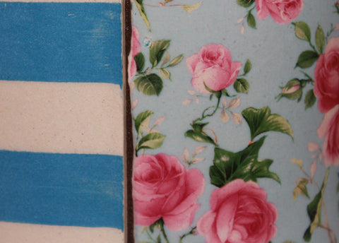 Blue Stripes with Ivy and Roses