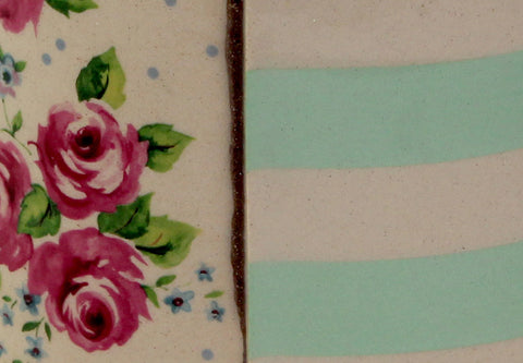 Mint Green Stripes with Pink Roses