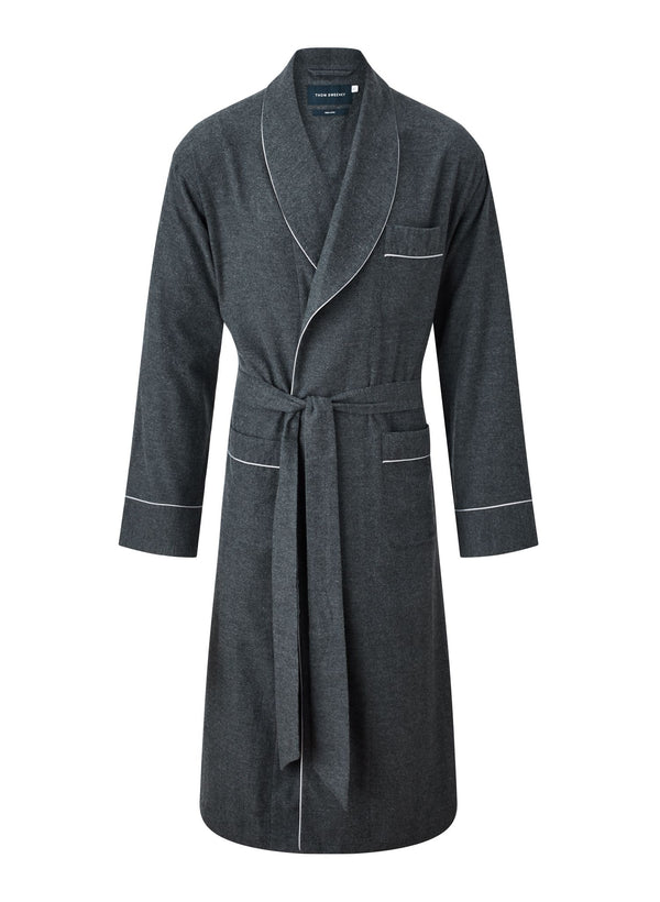 Brushed Cotton Robe - Grey