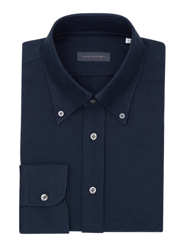 Navy Button Down Pique Shirt