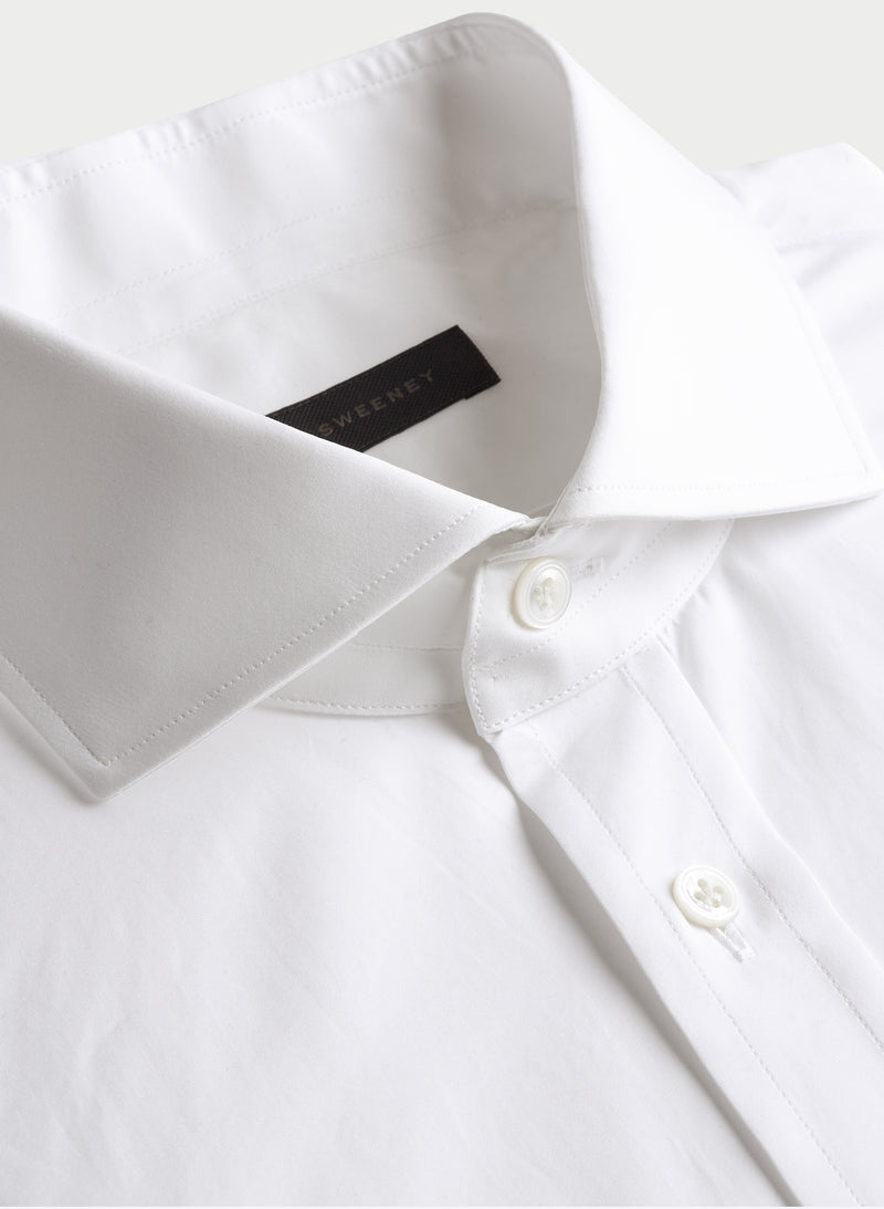 Solid Poplin Spread Collar Shirt - White