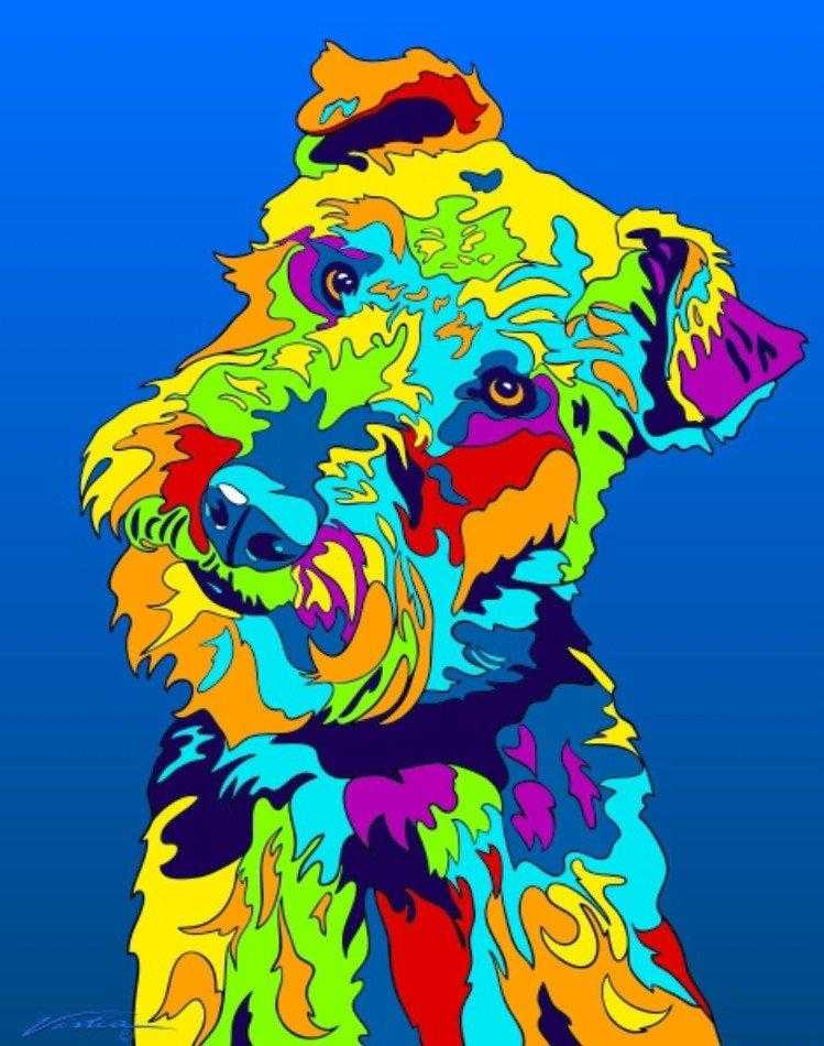 Multi-Color Welsh Terrier Dog Breed Matted Prints & Canvas Giclées - MULTI-COLOR DOG PRINTS