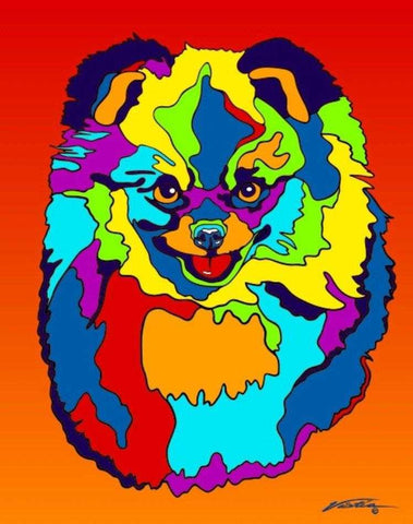 Pomeranian Matted Prints & Canvas Giclées - MULTI-COLOR DOG PRINTS
