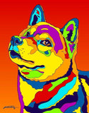 Multi-Color Shiba Inu Dog Breed Matted Prints & Canvas Giclées - MULTI-COLOR DOG PRINTS