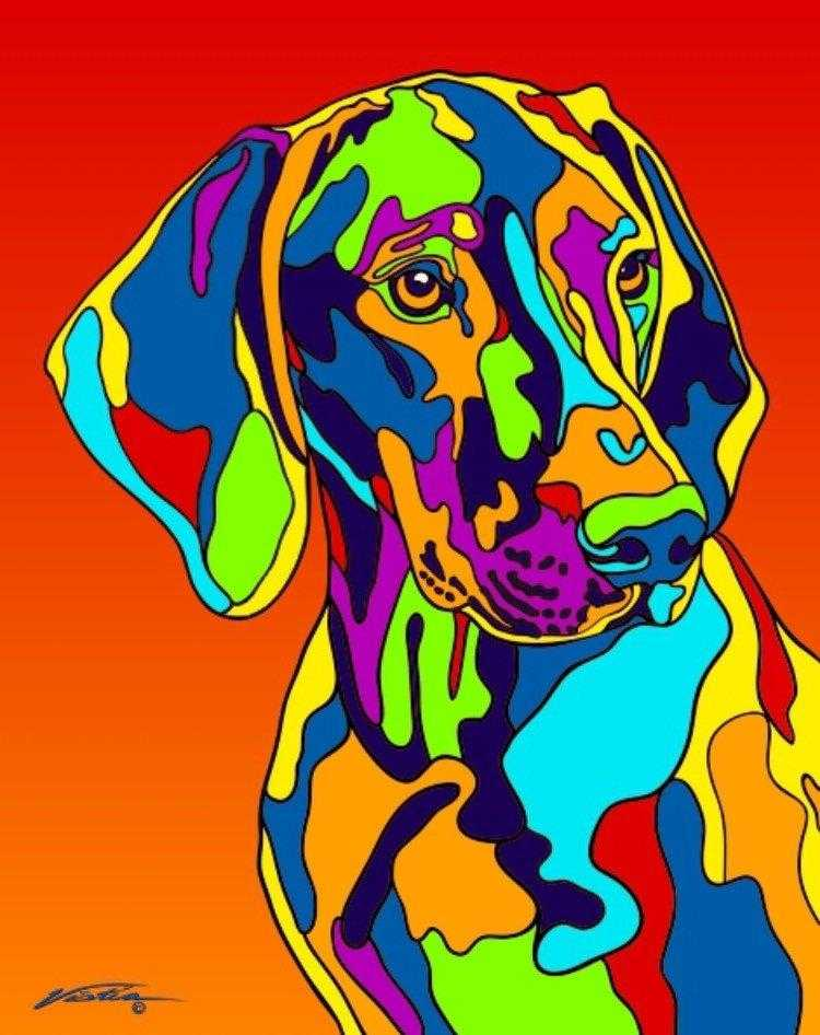 Multi-Color Vizsla Dog Breed Matted Prints & Canvas Giclées - MULTI-COLOR DOG PRINTS
