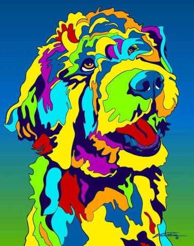 Goldendoodle Matted Prints & Canvas Giclées - MULTI-COLOR DOG PRINTS