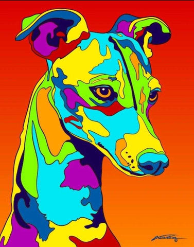 Rainbow Italian Greyhound Matted Prints & Canvas Giclées - MULTI-COLOR DOG PRINTS