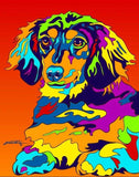 Multi-Color Long Haired Dachshund Dog Breed Matted Prints & Canvas Giclées - MULTI-COLOR DOG PRINTS