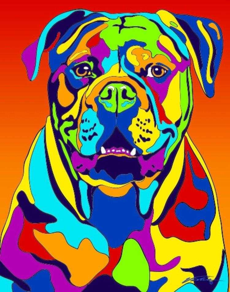 Multi-Color American Bulldog Dog Breed Matted Prints & Canvas Giclées - MULTI-COLOR DOG PRINTS