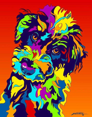 Schnoodle Matted Prints & Canvas Giclées - MULTI-COLOR DOG PRINTS
