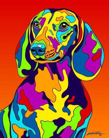 Dachshund Matted Prints & Canvas Giclées - MULTI-COLOR DOG PRINTS