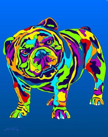 English Bulldog Matted Prints & Canvas Giclées - MULTI-COLOR DOG PRINTS