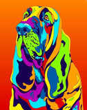 bloodhound Matted Prints & Canvas Giclées - MULTI-COLOR DOG PRINTS