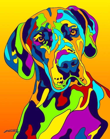 Multi-Color Great Dane Dog Breed Matted Prints & Canvas Giclées - MULTI-COLOR DOG PRINTS