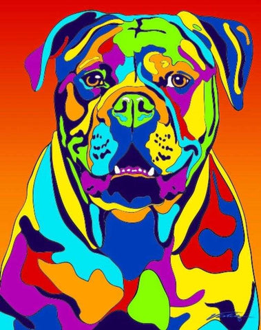 American Bulldog Matted Prints & Canvas Giclées - MULTI-COLOR DOG PRINTS