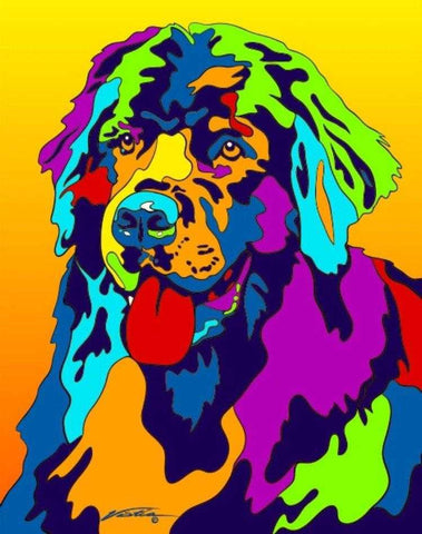 Newfoundland Matted Prints & Canvas Giclées - MULTI-COLOR DOG PRINTS