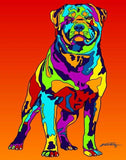 Rottweiler Matted Prints & Canvas Giclées - MULTI-COLOR DOG PRINTS