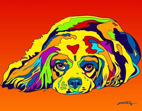 Cavalier King Charles Spaniel Matted Prints & Canvas Giclées - MULTI-COLOR DOG PRINTS